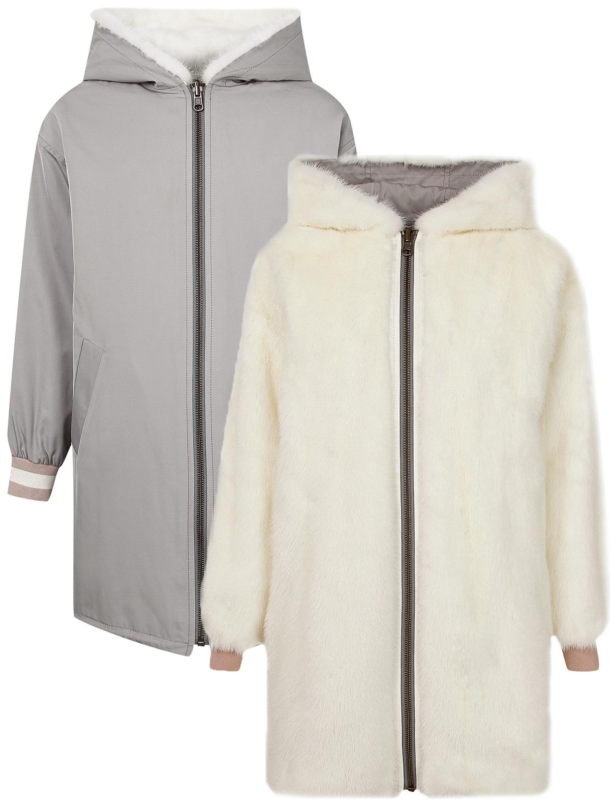 Купить 2109387, Пальто меховое Yves Salomon, белый, Женский, 4121208980010