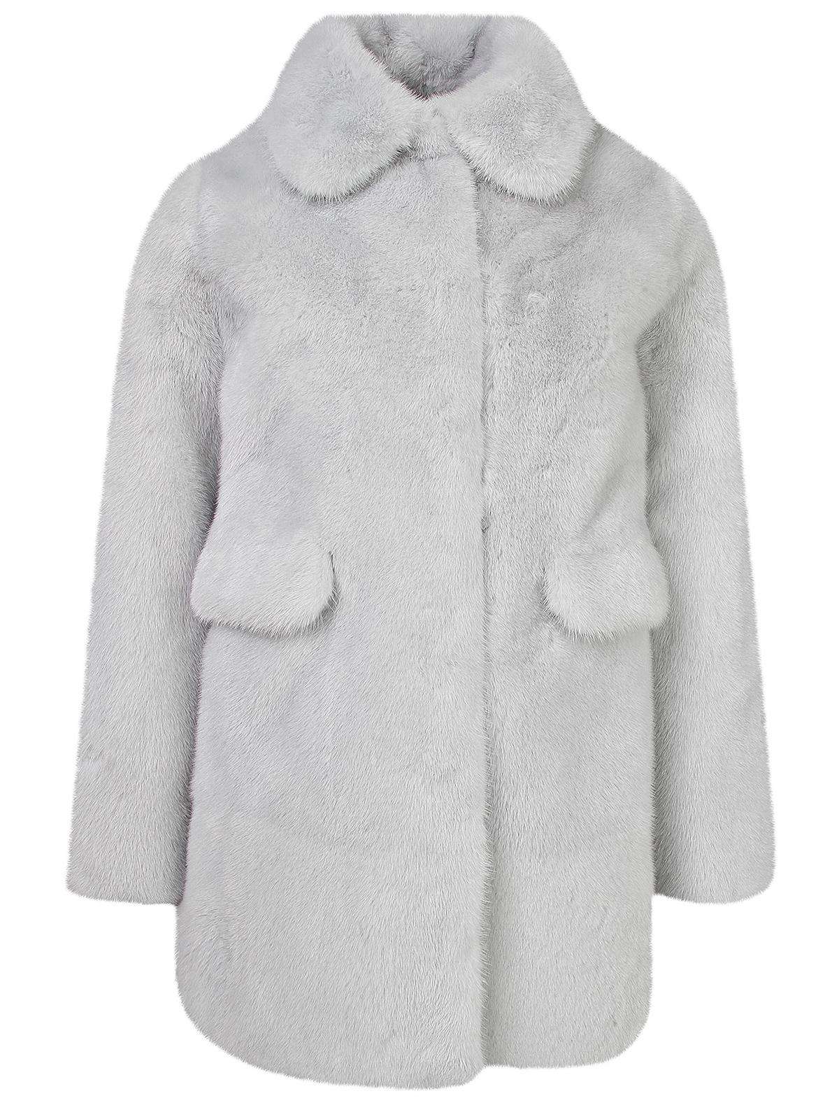 Купить 1912254, Пальто меховое (шуба) Yves Salomon, голубой, Женский, 1731508882025