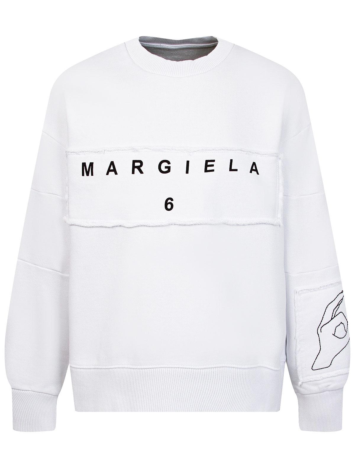 Купить 2345689, Свитшот MM6 Maison Margiela, белый, 0084529181105
