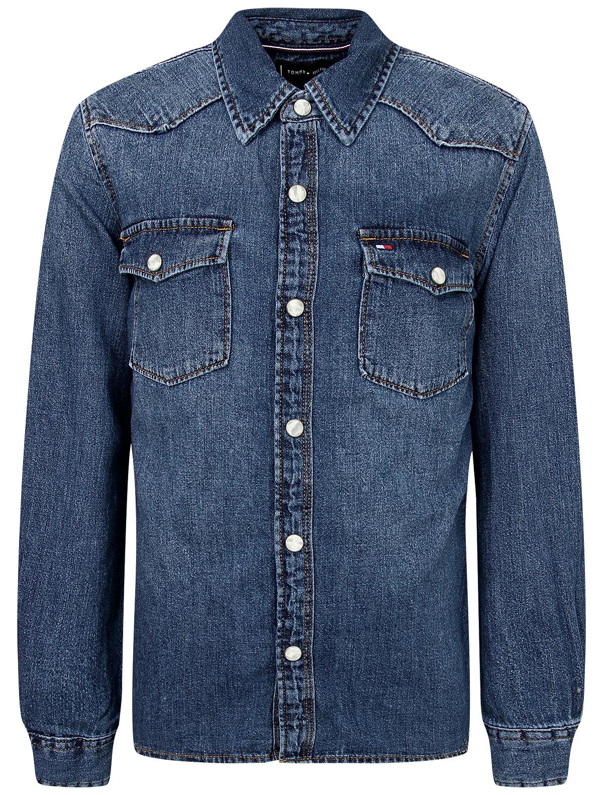 Купить 2173851, Рубашка TOMMY HILFIGER, голубой, Мужской, 1014519070927