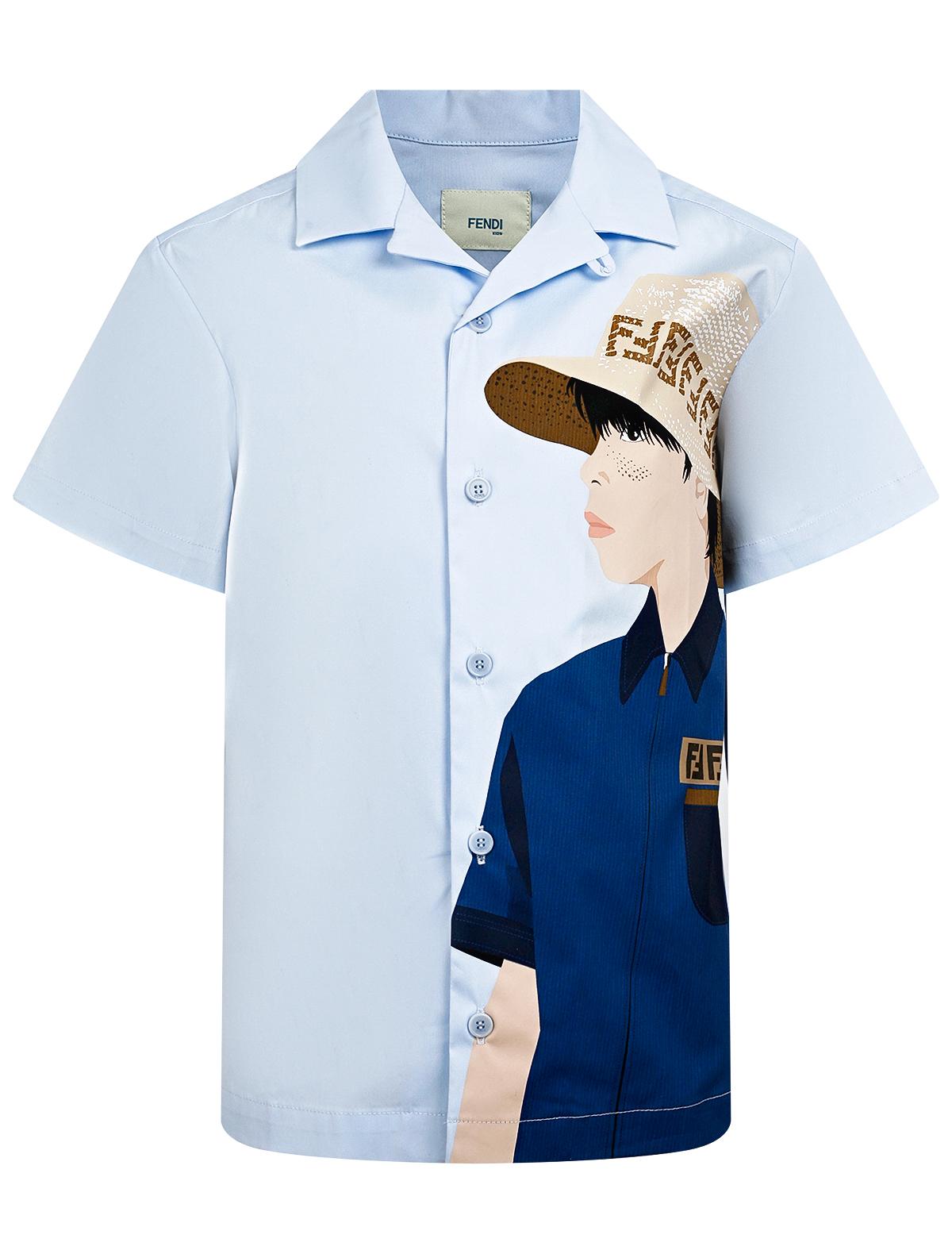 Купить 2296587, Рубашка Fendi, голубой, Мужской, 1014519172447