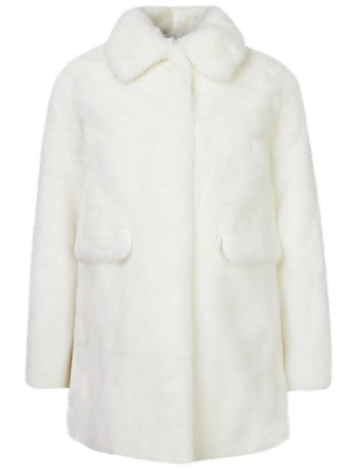 Купить 1912249, Пальто меховое (шуба) Yves Salomon, белый, Женский, 1731208880284