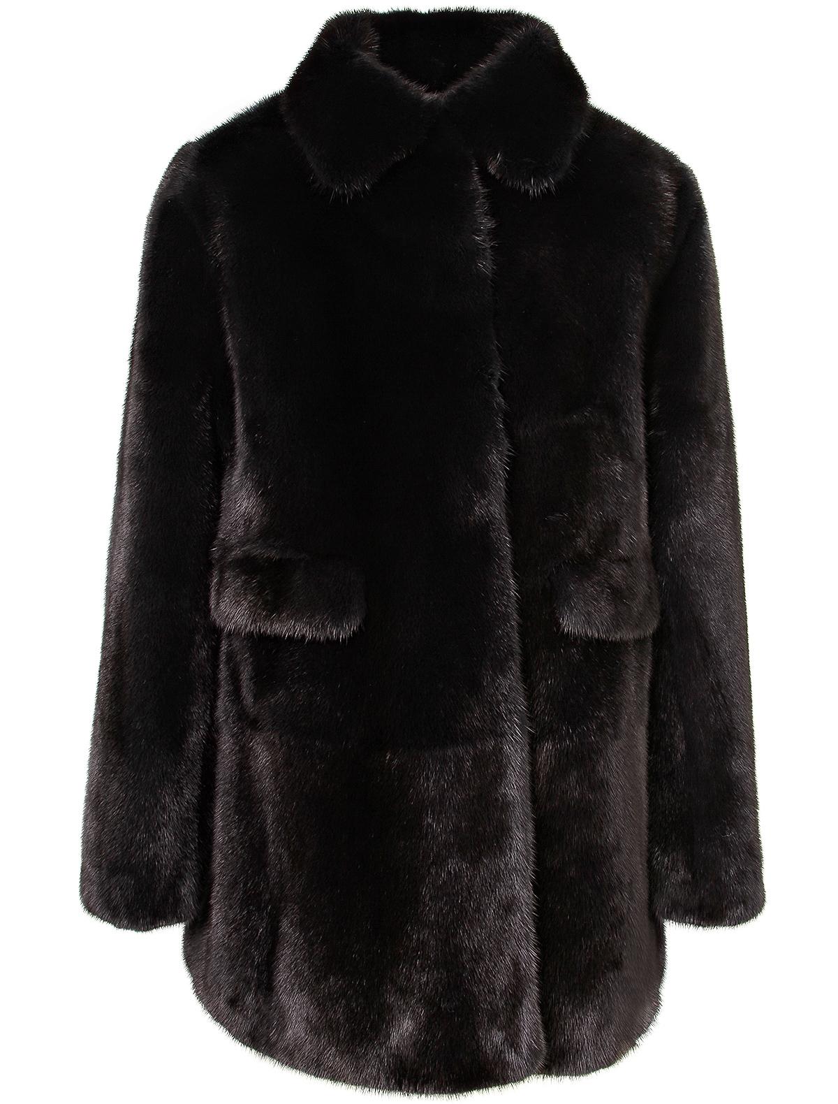 Купить 1912245, Пальто меховое (шуба) Yves Salomon, черный, Женский, 1731108881404